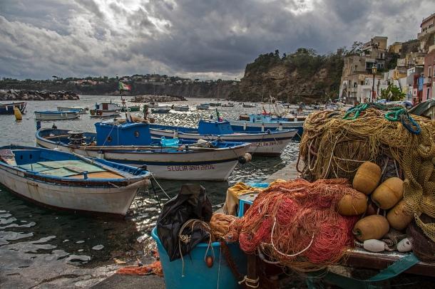 Fishing-boats-nets-Procida-island-Campania-Italy